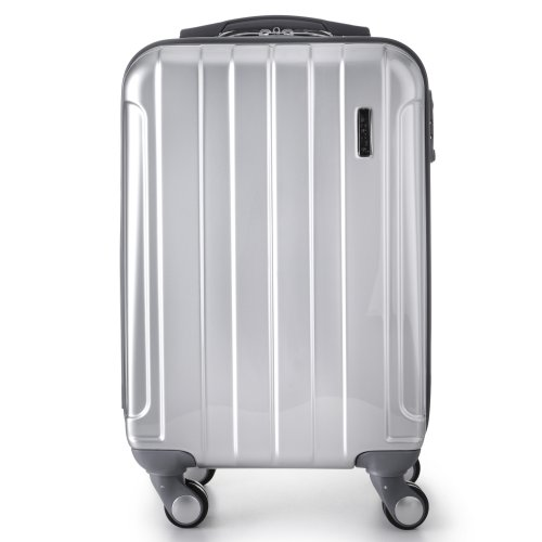 Aerolite 21 hardshell luggage suitcase in silver - front view