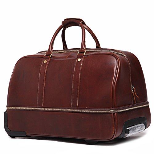 ea3973cd5c Leathario Men s Leather Luggage Wheeled Duffle Leather Travel Bag - Cabin  Hand Luggage