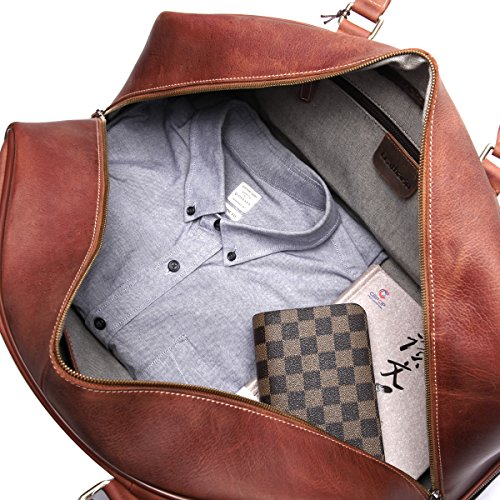 Leathario men 39 s leather luggage wheeled duffle leather travel bag cabin hand luggage for Leather luggage wheeled duffel